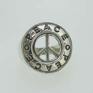 Sterling Silver Large Statement Cut Out Peace Design Ring Size 8 1/2