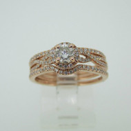 14k Rose Gold .34ct Round Brilliant Cut Diamond Ring Twist Band and Halo Accent with Bands Ring Size 7