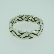 Sterling Silver Hammered Link Chain Pattern Band Ring Size 12 1/4