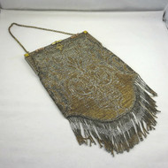 Antique Ladies Silver & Gold Seed Beaded Handbag Fringe Bottom with Accessories