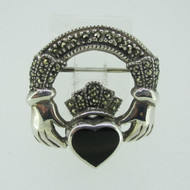 Sterling Silver Marcasite Onyx Irish Claddagh Pin Brooch