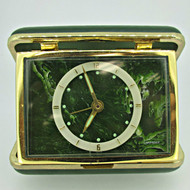 Vintage Caravelle Green Travel Alarm Clock (B7933)