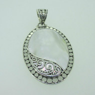 Sterling Silver White Mother of Pearl Bali Style ATI Pendant
