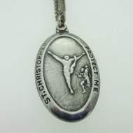 Sterling Silver Catholic Religious Miraculous Medal Saint Christopher Gymnastics Necklace