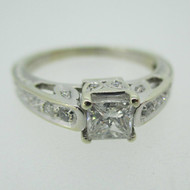 14k White Gold Approx .50ct Princess Cut Diamond Ring with Diamond Accents Size 5 1/2