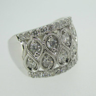 14k White Gold Approx 2.0ct TW Round Brilliant Cut Diamond Band Size 6 3/4