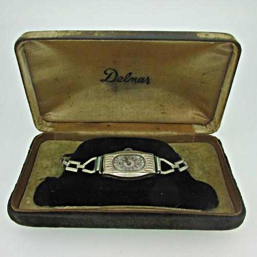 Antique Delmar Watch Co. Swiss 15J Silver Tone Watch Parts with Original Box (B7958)