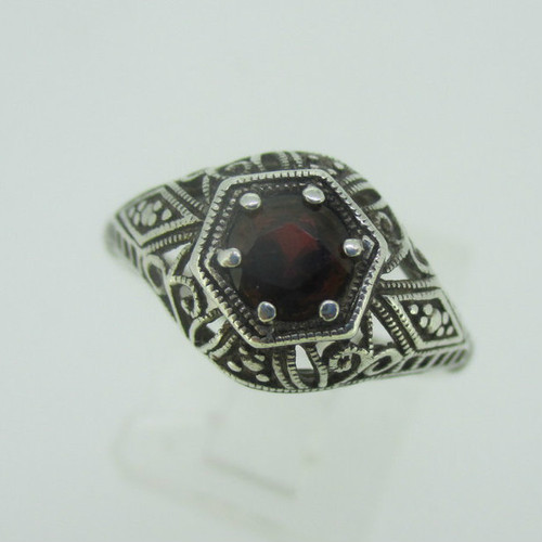 Sterling Silver Vintage Style Garnet Filigree Ring Size 7