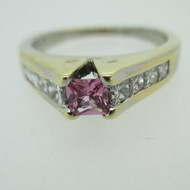14k White Gold Created Pink Sapphire with Approx .50ct TW Diamond Accents Ring Size 9