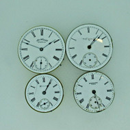 Lot of Four Antique Movements Elgin Hampden Waltham and Standard Parts Steampunk (B7967)