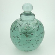 Vintage Green Art Glass Perfume Jar with Stopper Controlled Air Bubbles Design