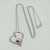 Sterling Silver 14K Gold Plated Double Heart JWBR Necklace 18""
