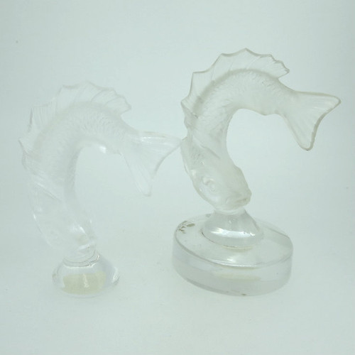 Lot of Vintage Lalique Crystal Jumping Diving Fish Placecard Holder & Figurine