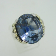 Sterling Silver & 14K Accent Blue Topaz Size 7.5