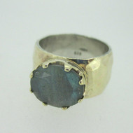 Sterling Silver & 9K Accent Crown Labradorite Hammered Ring Size 8