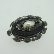 Vintage Sterling Silver Baroque Pearl Black Onyx Pin Brooch