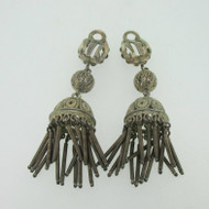 Vintage 800 Silver Horseshoe Dangle Filigree Clip On Earrings