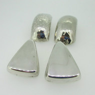 Sterling Silver Lot of Two Sets Large Clip On Earrings