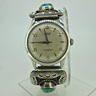 Vintage Altus 17J Swiss Watch with Betty Martinez Zuni Sterling Silver Watch Enhancers (B7981)
