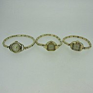 Lot of Three Vintage Ladies Benrus, Bulova, and Clinton Watches Parts Steampunk (B7983)