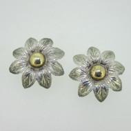 Sterling Silver Mexico Two Tone Flower Earrings
