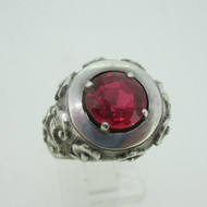 Sterling Silver Red Synthetic Ruby Ring Size 7