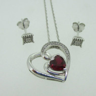 Sterling Silver Synthetic Garnet Diamond Accent Heart Necklace Earring Set