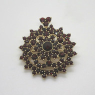 Gold Vermeil over Sterling Silver Rose Cut Czech Garnet Brooch Pin Pendant