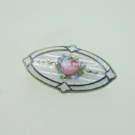 Sterling Silver Guilloche Enamel Rose Flower Vintage Pin Brooch