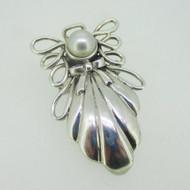 Sterling Silver Guardian Angel Pearl Pendant & Pin Brooch