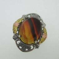 Sterling Silver Vintage Style Black Hills Gold Tiger Eye Pin Brooch