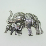 Sterling Silver Mom Baby Elephant Marcasite Pin Brooch