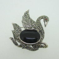 Sterling Silver Black Swan Black Onyx Marcasite Pin Brooch