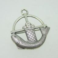 Sterling Silver Jesus Fish & Bread Loaf Cross Pendant & Pin Brooch