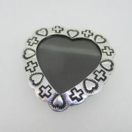 Sterling Silver Locket Photo Holder Heart Cross Pendant & Pin Brooch