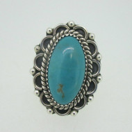 Sterling Silver Oval Turquoise Navajo E Kee Ring Size 7.5