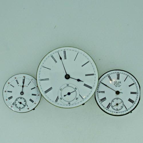 Lot of Three Antique Swiss Pocket Watch Movements Parts Steampunk (B8026)