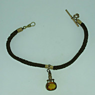 Antique Victorian Mourning Hair Gold Filled Watch Chain with Citrine Fob (B8030)