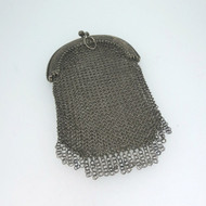 Vintage Old Silver Tone Round Chainmail Link Mesh Wallet Coin Purse Unmarked