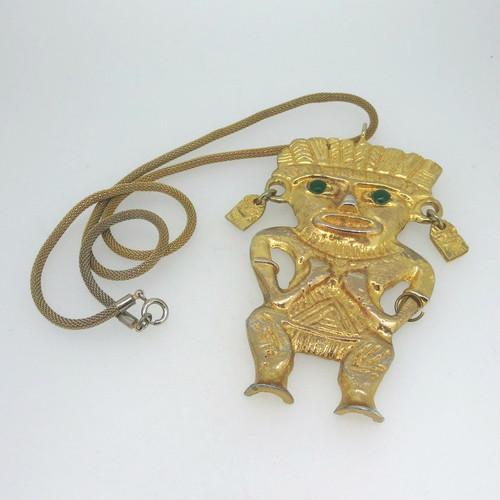 KJL Kenneth Lane Gold Tone Green Eyes Inca or African Warrior Folk Art Necklace