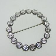 Sterling Silver Diamond Cut Circle Beverly Hills Silver Pin Brooch