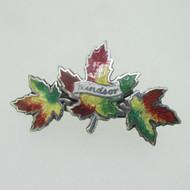 Sterling Silver Enamel Maple Leaf Windsor Pin Brooch