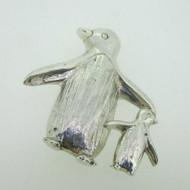 Sterling Silver Baby Penguin & Mom Penguin Pin Brooch