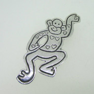 Sterling Silver Monkey with Hearts Pin Brooch Mexico
