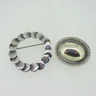 Beau Sterling Silver Lot of 2 Pins Brooches