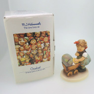 1990s Goebel Hummel Morning Stroll Figurine Girl & Doll in Buggy w Original Box