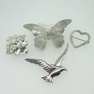 Beau Sterling Silver Lot of 4 Pins Brooches Heart Bird Butterfly Dogwood