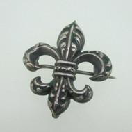 Vintage Sterling Silver Fleur de Lis Enamel Watch Pin or Brooch or Pendant