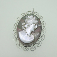 Sterling Silver Vintage Style Cameo Abalone Pendant & Pin Brooch