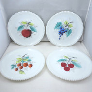 Lot of 4 Vintage Westmoreland Beaded Edge Milk Glass Plates Painted Fruits
